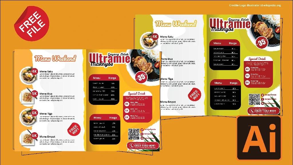 Download Contoh Brosur Makanan Kreatif 2 Lipat Photoshop Dan CorelDraw