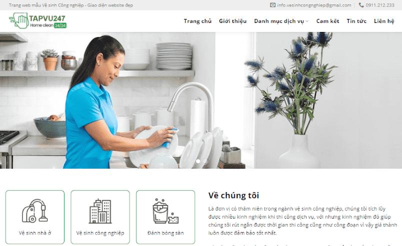 Giao diện blogspot dịch vụ vệ sinh tạp vụ