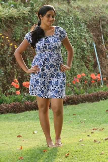 Actress Poorna Kasim Legs Thighs Photos In Mini Blue Frock Navel Queens
