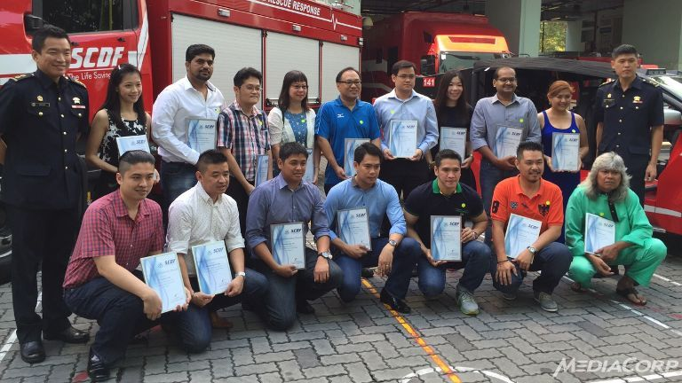 Sixteen members of the public were commended by the Singapore Civil Defence Force for help to rescue a man trapped under a truck