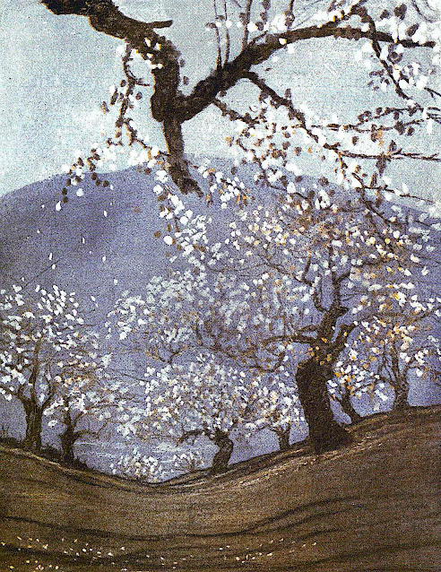 a Walter King Stone illustration 1920, a geographic dip in a blossoming orchard
