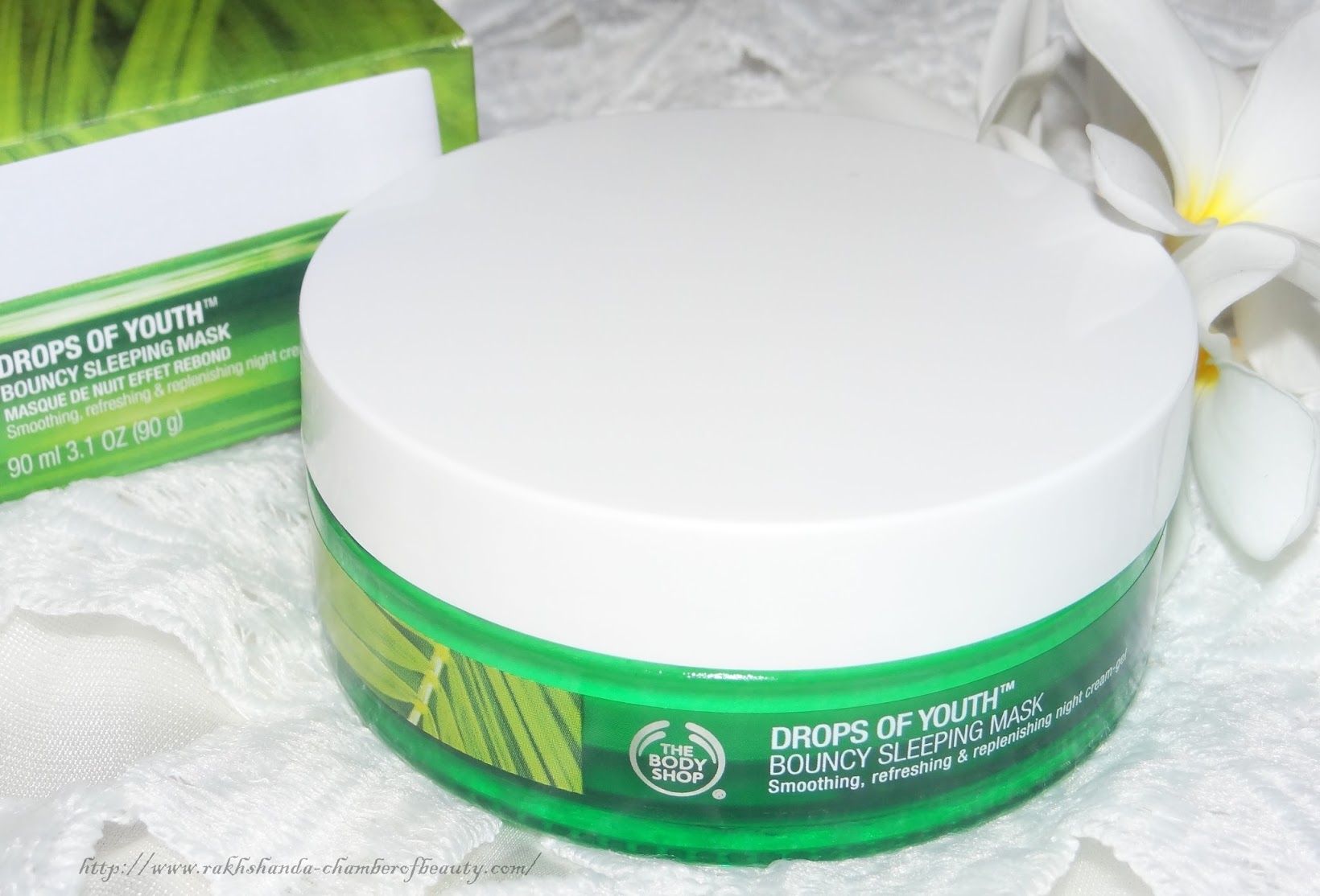 The Body Shop Drops of Youth Bouncy Sleeping mask- Review, Photos, Price, night skincare, night-cream gel, Indian beauty blogger