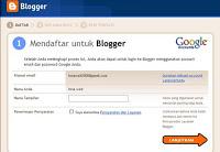 silahkan login di gmail untuk mendaftar blogger