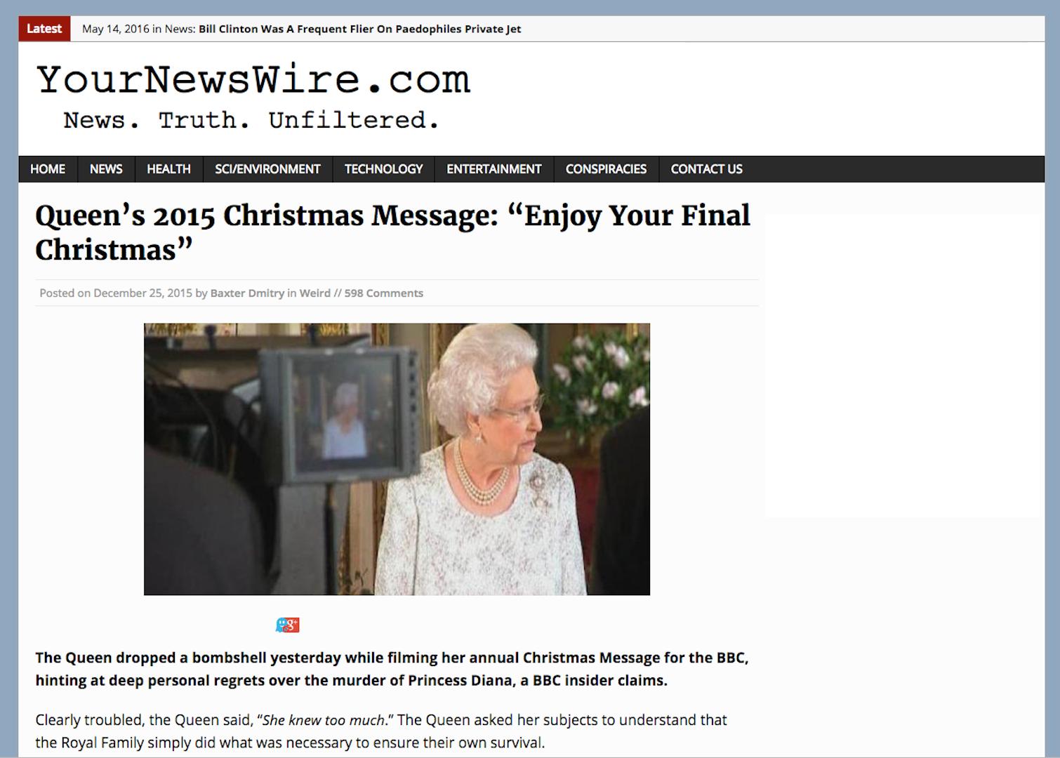 "Gematria: COG - Queen's 2015 Christmas Message: ""Enjoy Your Final ..."