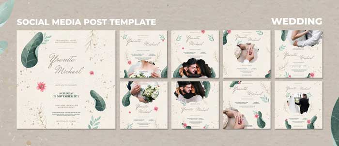 Wedding Social Media Post PSD Template