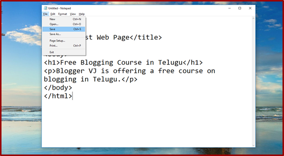 Website Designing Course | How to create a web page in telugu | Blogger VJ