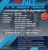 Bursa Kerja Surabaya di PT. NIT Indonesia Teknologi Juni 2021
