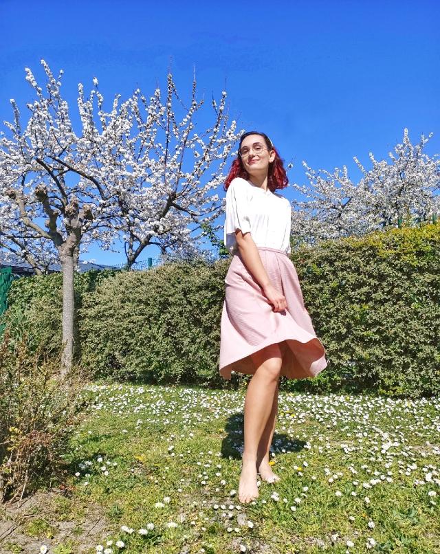White blouses and midi skirts