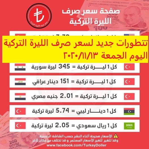 سعر صرف الليرة التركية اليوم الجمعة