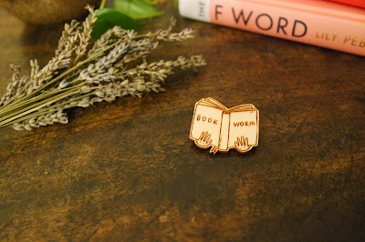 enamel pin, bookworm, brooch