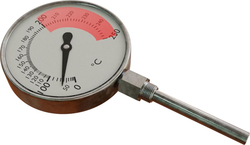 Rentang pengukuran yang disarankan untuk termometer yang diisi uap