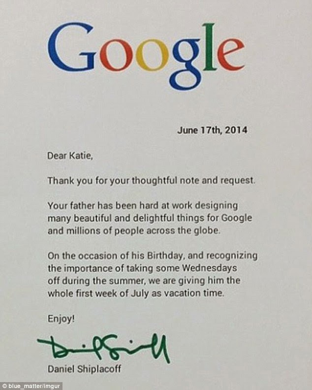 See The Letter From A Google Employee'S Daughter To His Boss