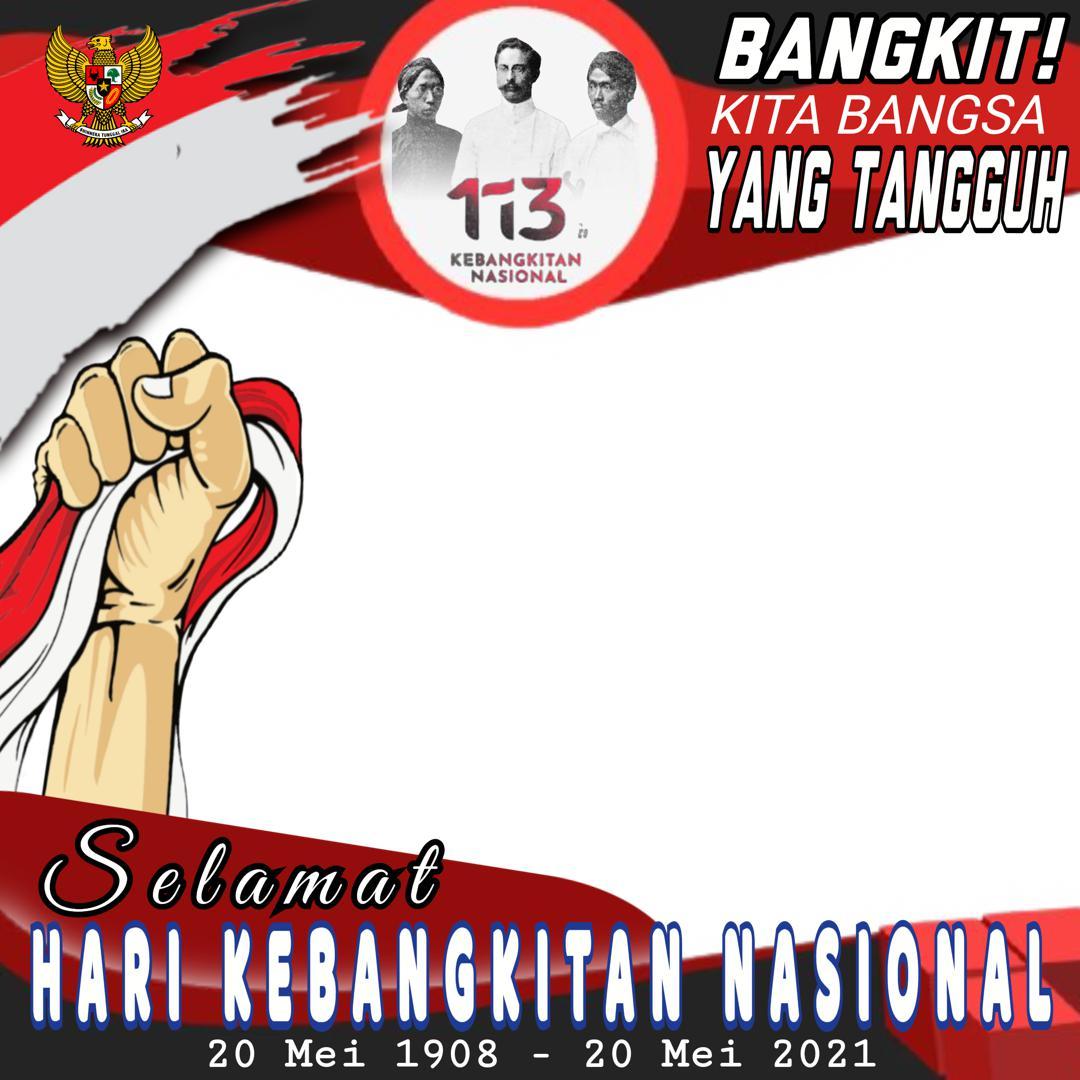 Gambar Twibbon Hari Kebangkitan Nasional (Harkitnas) 2021 Boedi Oetomo dan Bendera Merah Putih