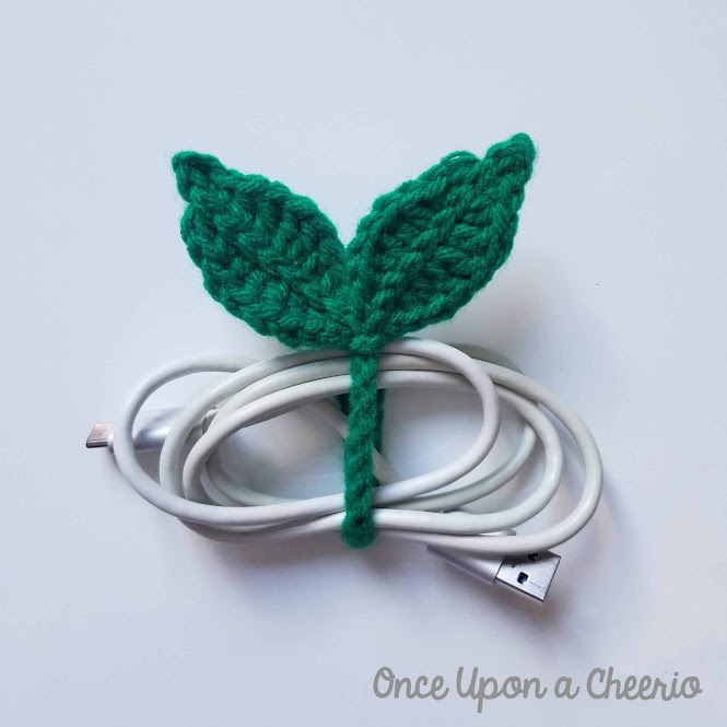 Leaf Sprout Cable Tie and Bookmark FREE Crochet Pattern