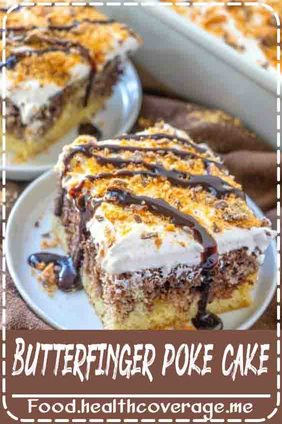 Butterfinger Poke Cake starts with a boxed marble cake mix and is filled with a caramel sauce and topped with caramel whipped topping.