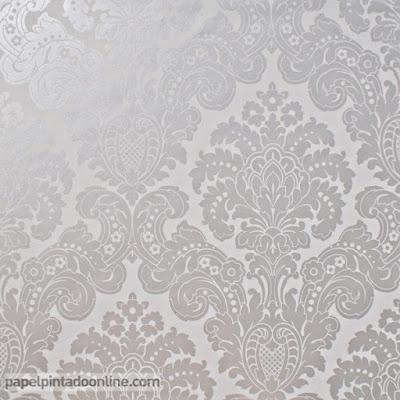 Papel Pintado Damasco Gris con Plata Ref. 5288-2