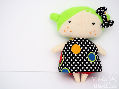 rag doll, tilda doll, cotton, polyester eco felt, pop art, scotland, Bohemian, polka dot, polka, comic books, bow, green hair, popsicle, stuffed toy, Tocha