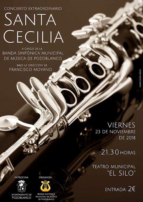 Cartel del Concierto de Santa Cecilia de la Sinfónica de #Pozoblanco