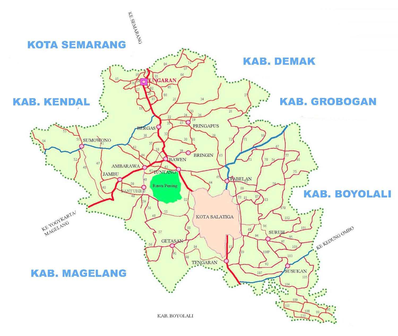 Peta kabupaten semarang lengkap 19 kecamatan gambar peta jalan kabupaten semarang ccuart Image collections