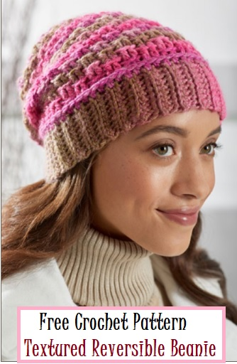 Free Crochet Reversible Textured Beanie Hat Pattern