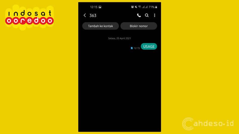 Cek Pulsa OnNet Indosat via Menu SMS