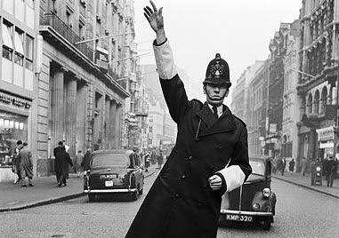 1950s policeman on traffic duty