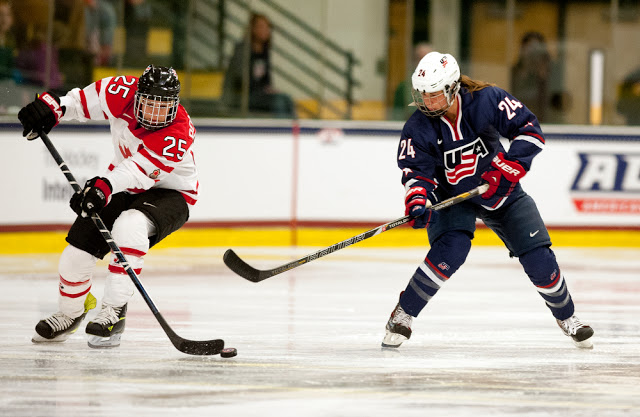 one canadian player and one USA player play hockey