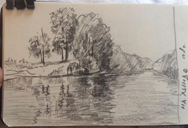 Карандашный набросок деревьев на р. Линда