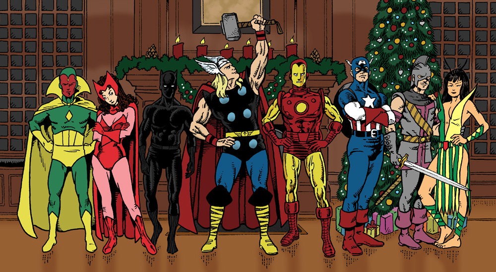 Vision, Scarlet Witch, Black Panther, Thor, Iron Man, Captain America, Swordsman, and Mantis standing in front of an Avengers Mansion fireplace next to a Christmas tree.