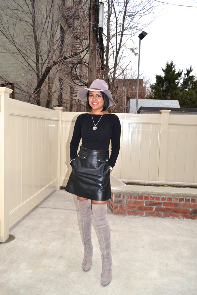 grey thigh high boots Astoria in Heels
