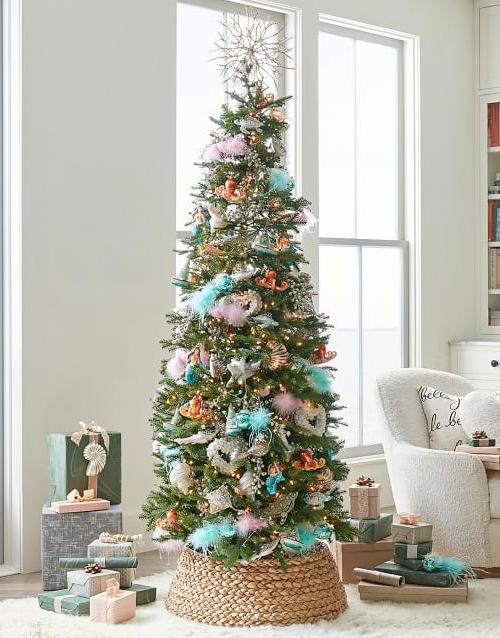 Coastal Christmas Tree with Basket Collar