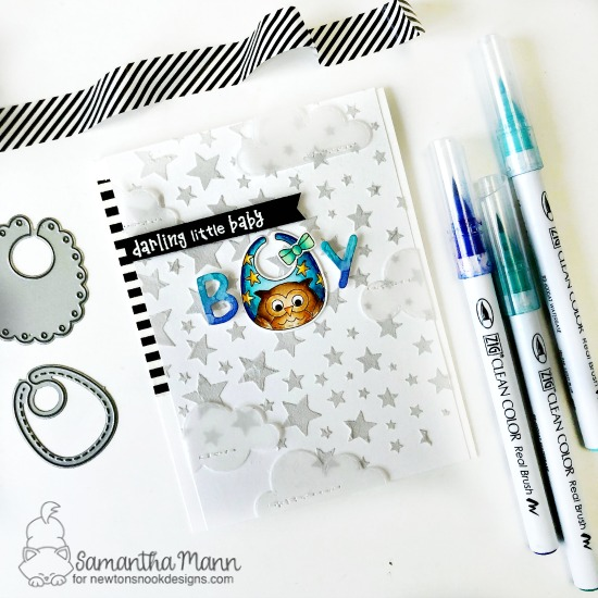 Baby Bib Boy Card by Samantha Mann | Bitty Bibs Stamp Set, Baby Bib Die Set, Cascading Stars Stencil and Sky Scene Builder Die Se by Newton's Nook Designs #newtonsnook #handmade