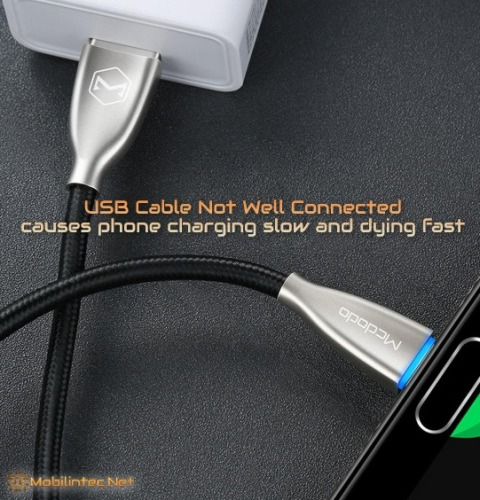 USB Cable Not Well Connected causes phone charging slow and dying fast