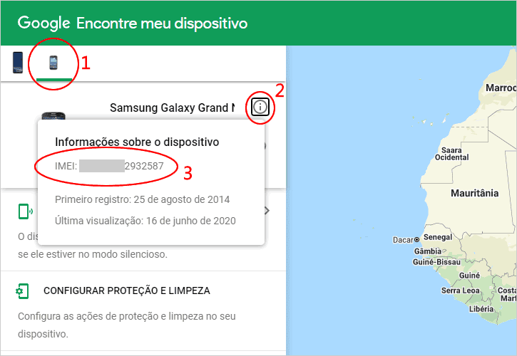 Descobrindo o IMEI do celular roubado ou perdido pela conta Google