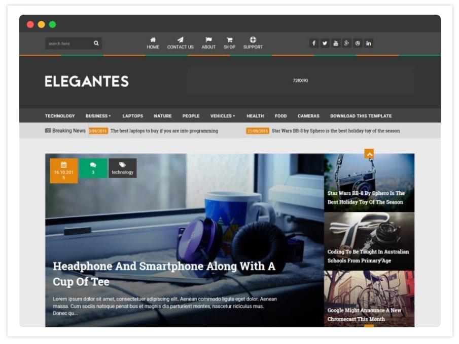 Elegantes - Elegant Responsive Blogger Template 2020 Free Download