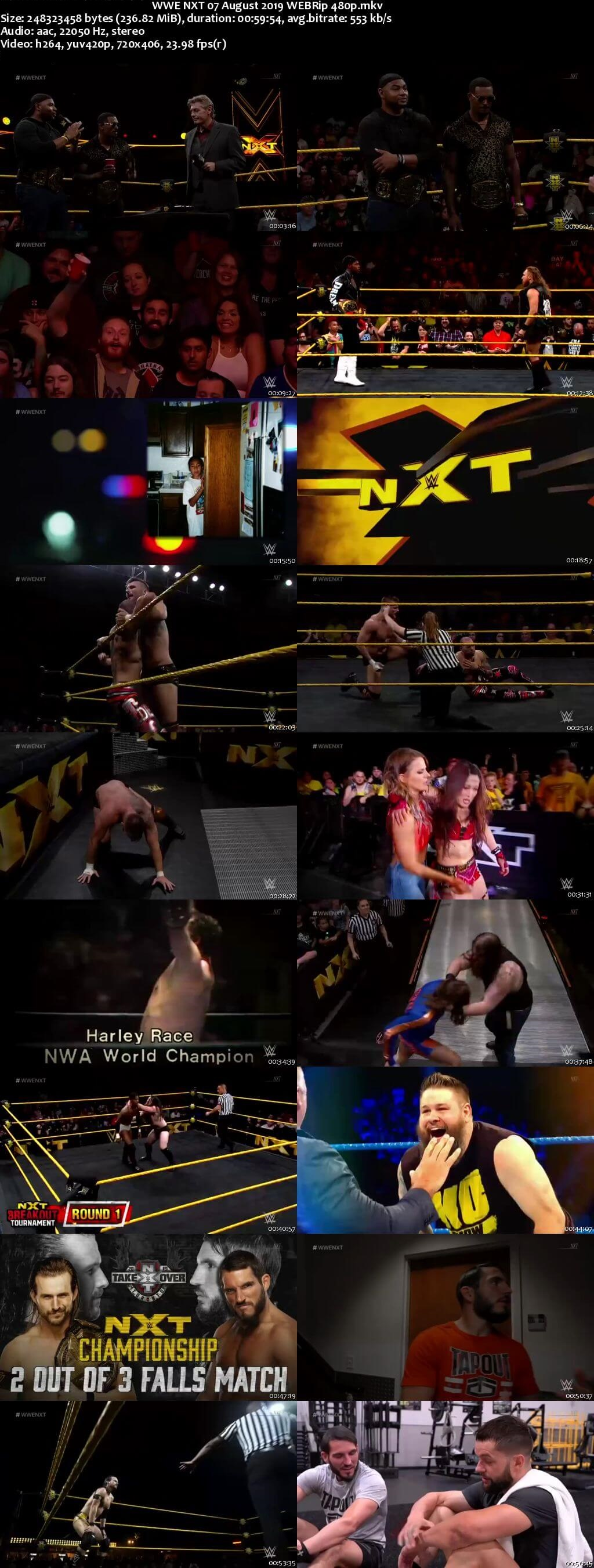 Screen Shot Of WWE NXT 7th August 2019 HDTV 480P 300MB