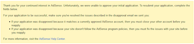 Google AdSense Rejection Message in AdSense Dashboard