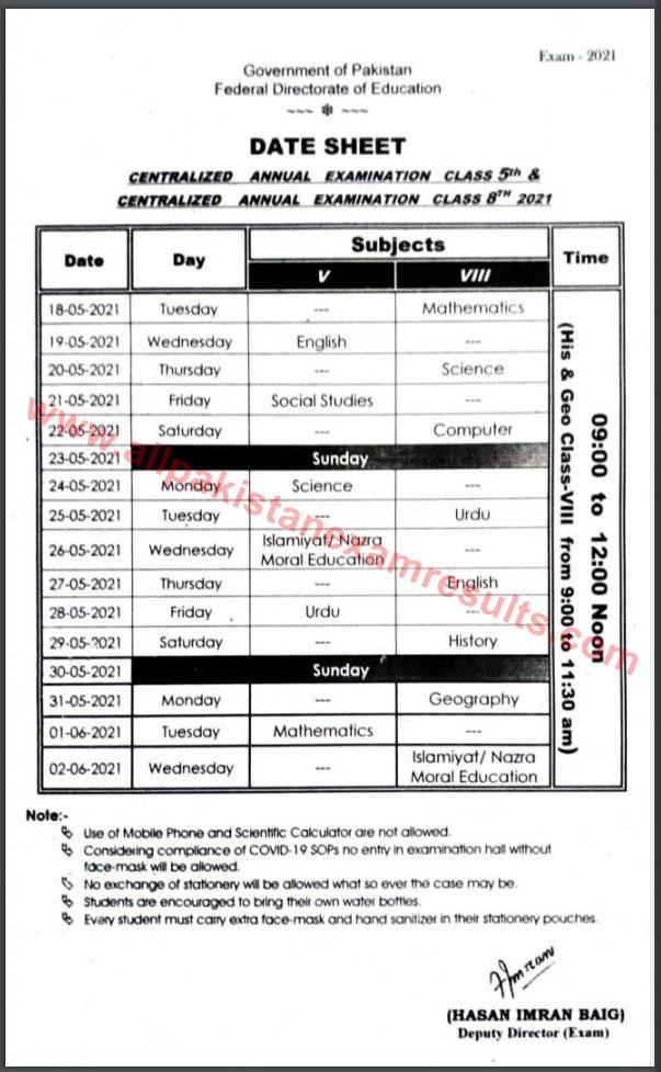 Date Sheet FDE Annual Exam 2021 Class 5th & 8th