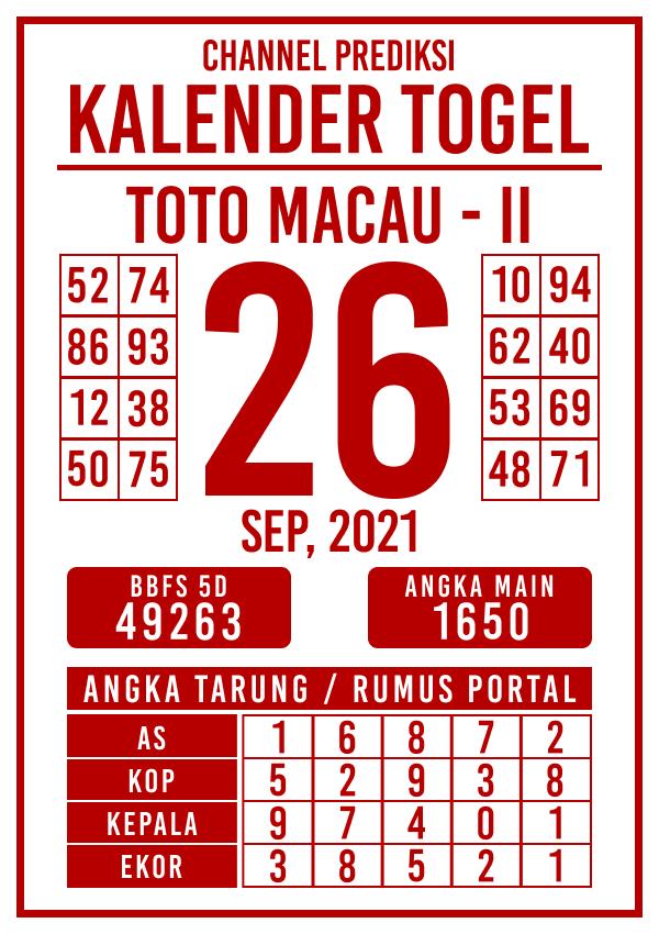 Prediksi Kalender Toto Macau P2