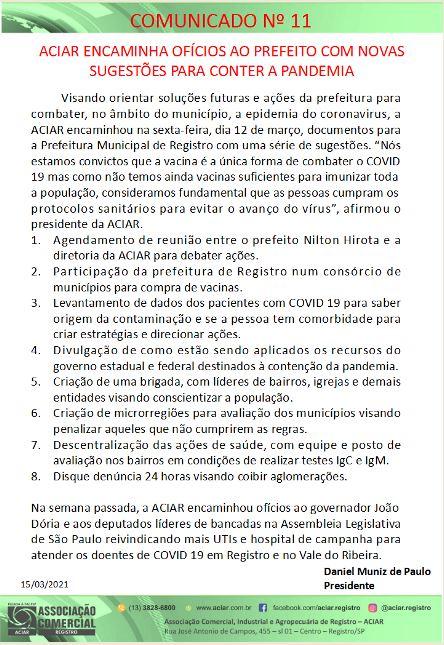 ACIAR ENCAMINHA OFÍCIOS AO PREFEITO COM  NOVAS SUGESTÕES PARA CONTER A PANDEMIA