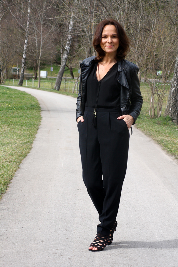 styling series  black jumpsuit moto jacket lady