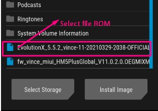 select file rom evolutionX