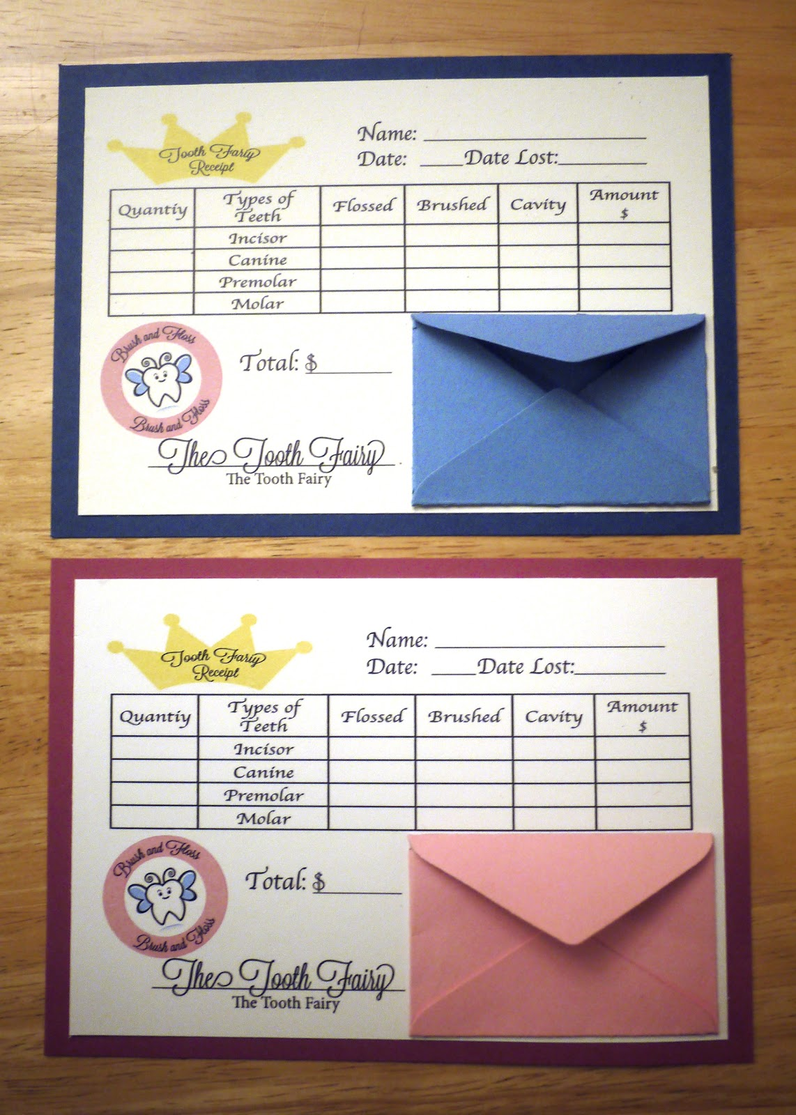 Tooth Fairy's Receipt - UPDATED | Paper & Pi