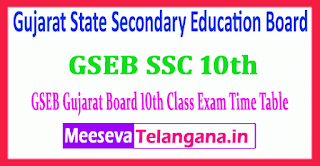 GSEB 10th Gujarat State Secondary Education Board SSC Time Table 2019 Download