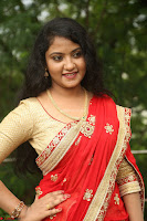 Akshara in Red Saree Golden Choli at LV Movie Makers Production No 1 Movie Opening ~  Exclusive 035.JPG