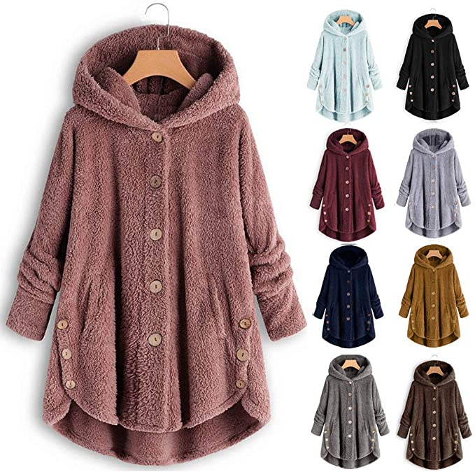 50% OFF Hoodies for Women Fleece Plus Size Button Pullover Fuzzy Sweater Tops Plain Blouse with Small Pocket Wool Coat Winter