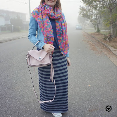 awayfromtheblue Instagram diamond print pink scarf pastel darren messenger bag with denim jacket stripe maxi skirt foggy outfit