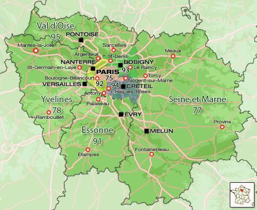 Carte de l'Ile de France Région | Carte France Département Région