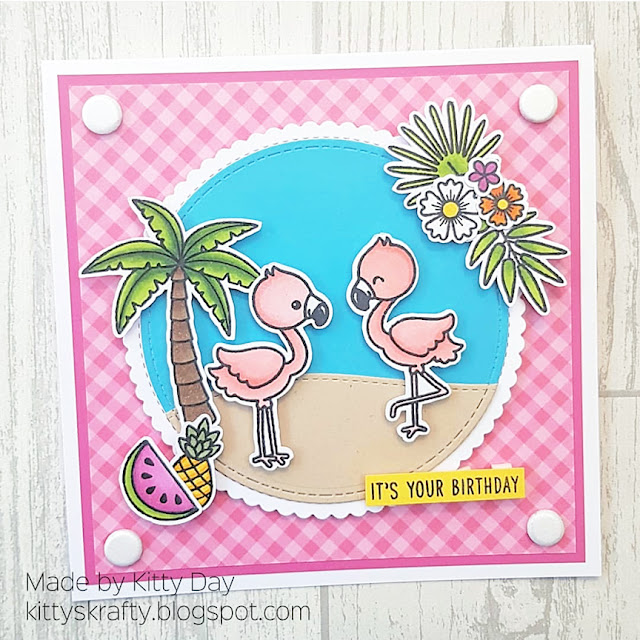 Sunny Studio Stamps: Fabulous Flamingos Customer Card by Kitty Day