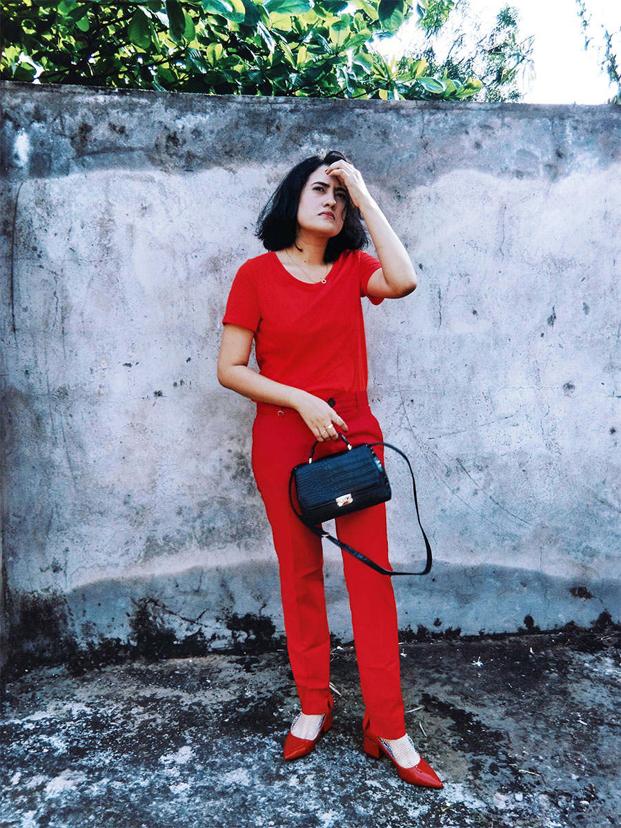 Next womens Red Top, mango womens red Highwaist trousers ,Zara Red Patent Block Heel,Zara Black Mini Bag  ,allredoutfitinspiration